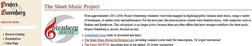 The Gutenberg Sheet Music Project